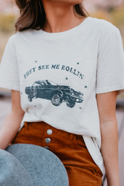 THEY SEE ME ROLLIN' GRAPHIC TEE IN CLAY