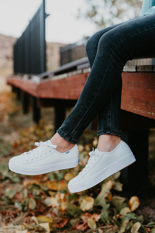 TRIPLE KICK LEATHER WHITE SNEAKERS - KEDS