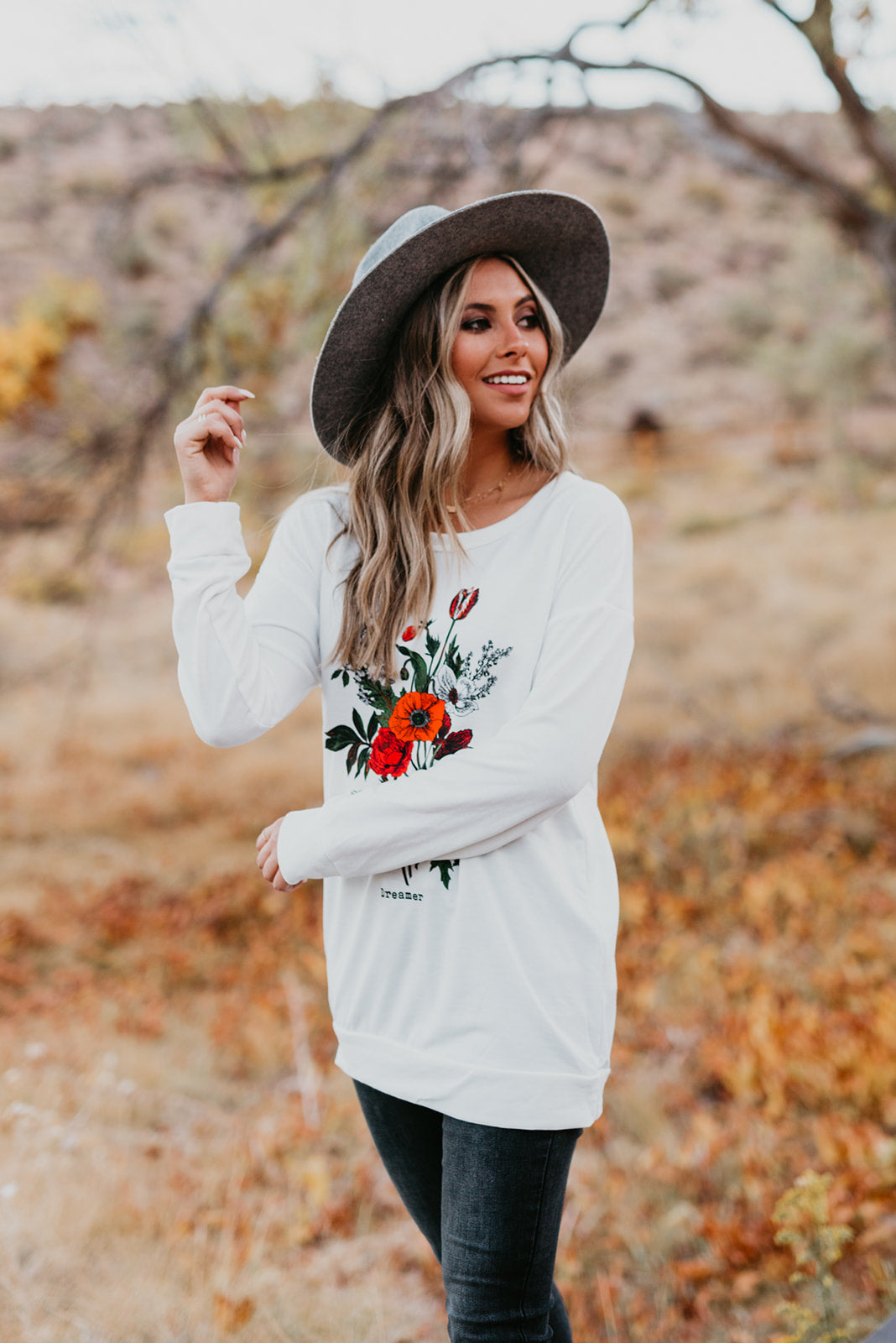 THE DREAMER WILDFLOWER LONG SLEEVE TOP IN OFF WHITE