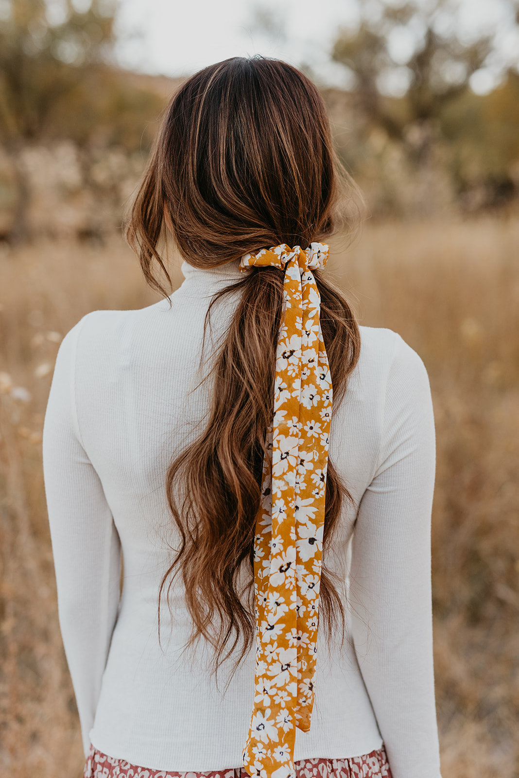 THE YELLOW FLORAL SCRUNCHIE SCARF