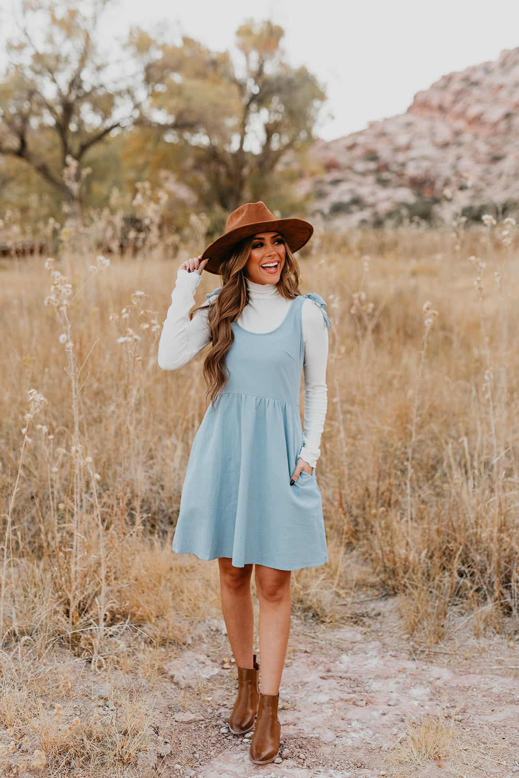 PINK DESERT TIE STRAP MEADOW DRESS IN CHAMBRAY