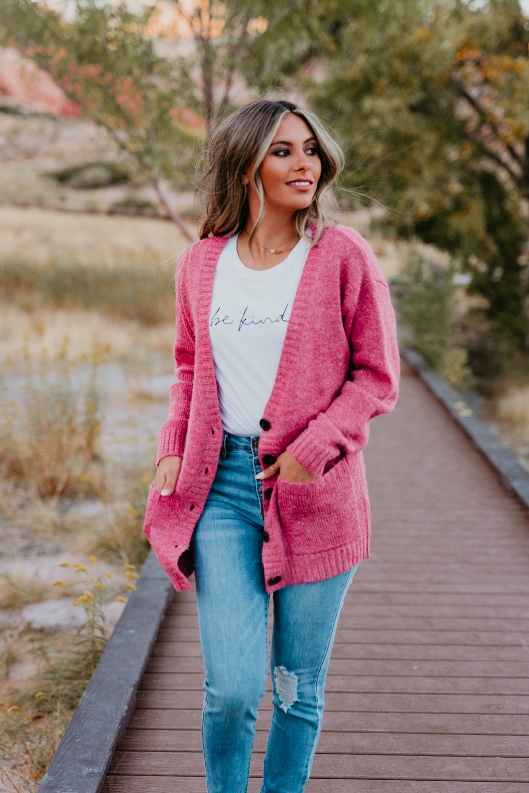THE COURTNEY CARDIGAN IN HOT PINK
