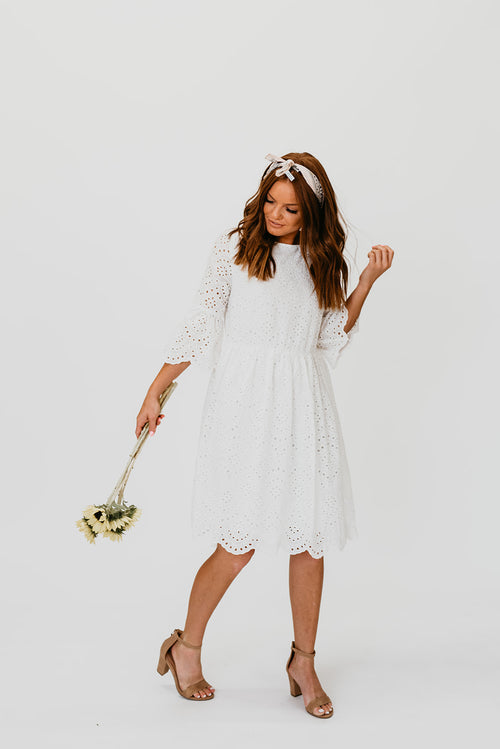 a8887faba3 THE HADLEY EYELET DRESS IN WHITE