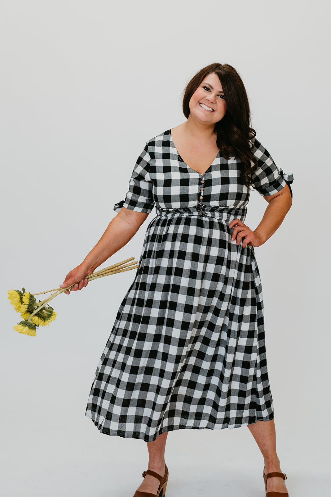 THE DIXIE CHECKERED DRESS IN BLACK AND WHITE