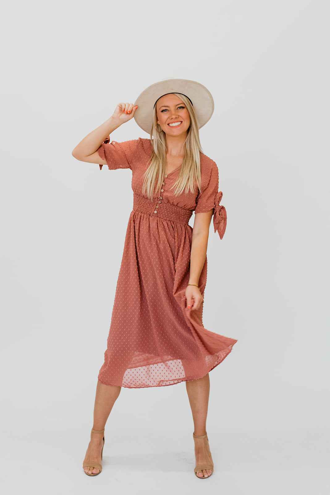 THE SANTA ANA SWISS DOT DRESS IN MAUVE
