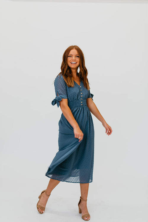 THE SANTA ANA SWISS DOT DRESS IN RUSTIC BLUE