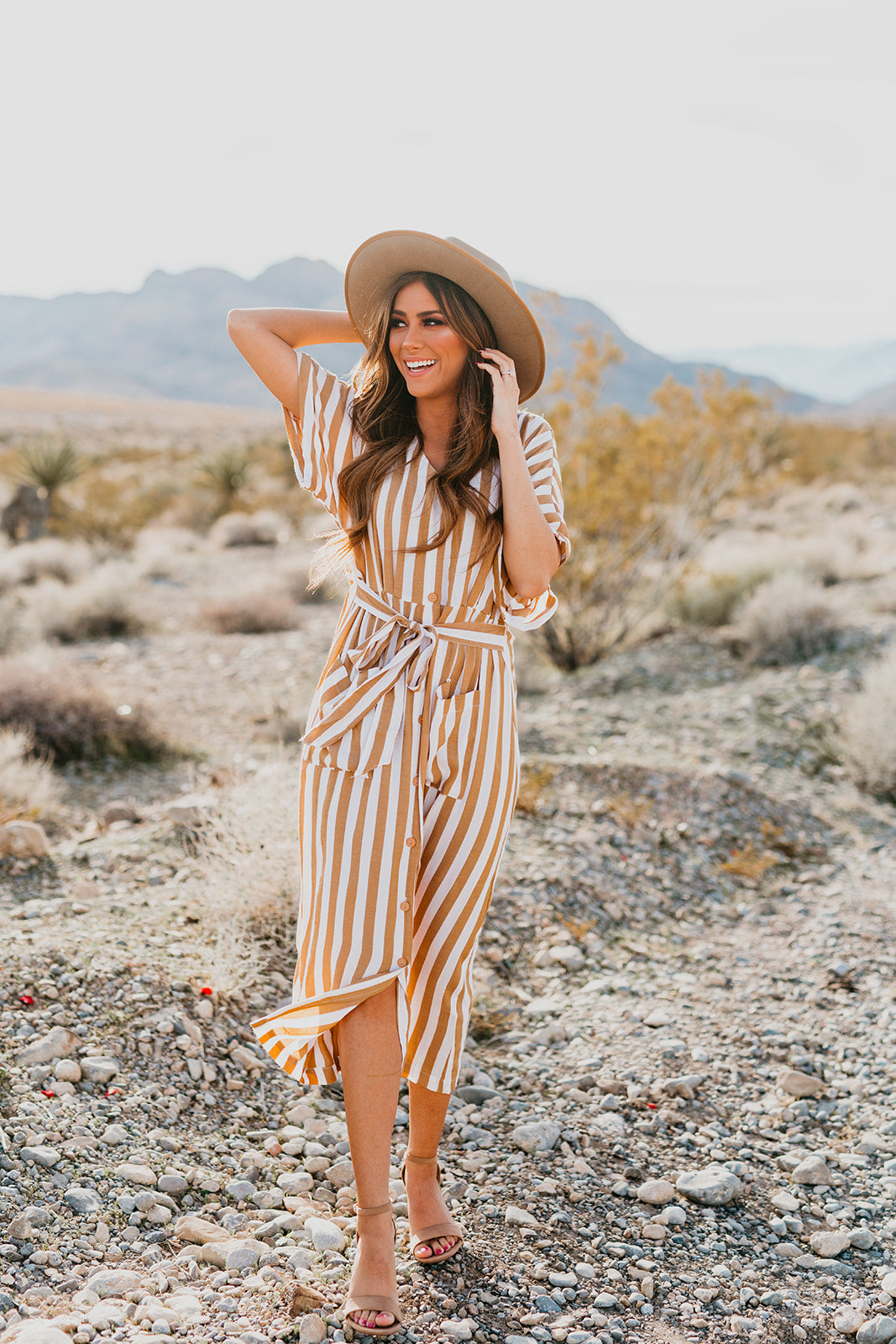 THE ANDI STRIPED BUTTON DOWN MIDI DRESS IN MUSTARD