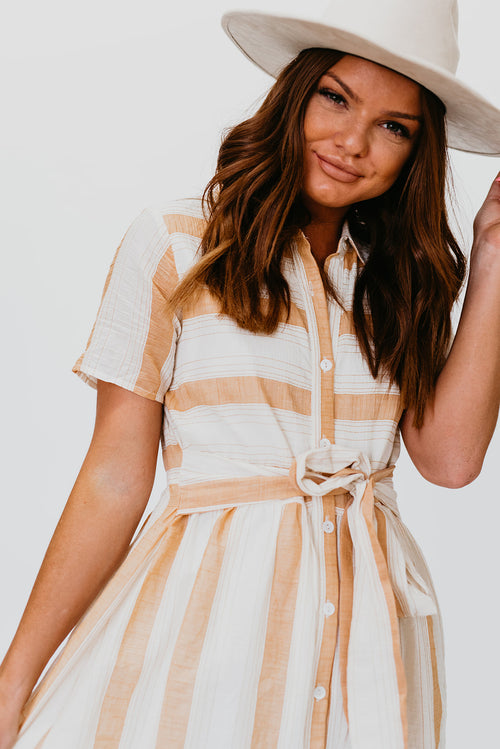 THE KAILEE TEXTURED STRIPE DRESS IN PEACH