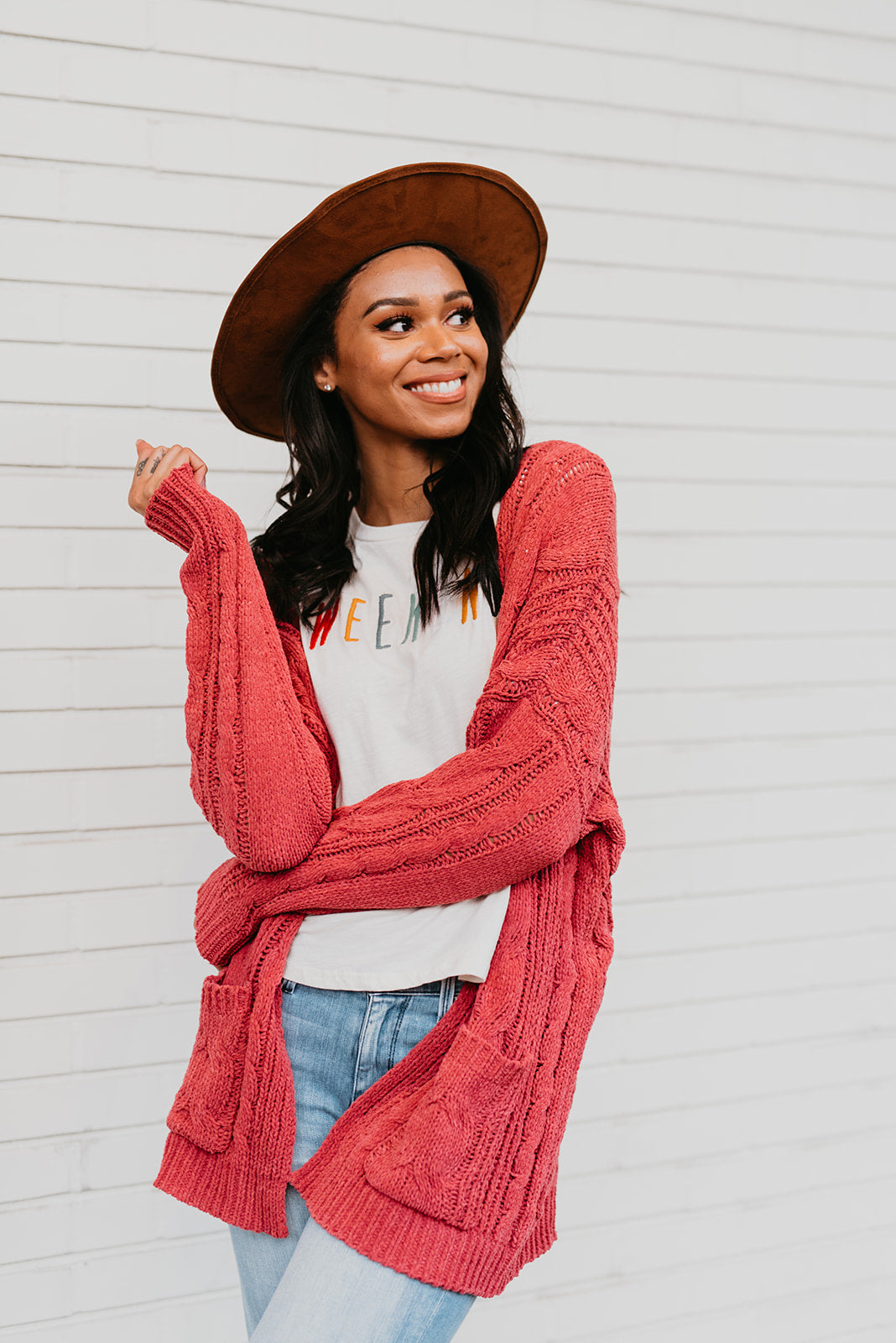 THE WARM + COZY KNIT OPEN CARDIGAN IN RASPBERRY