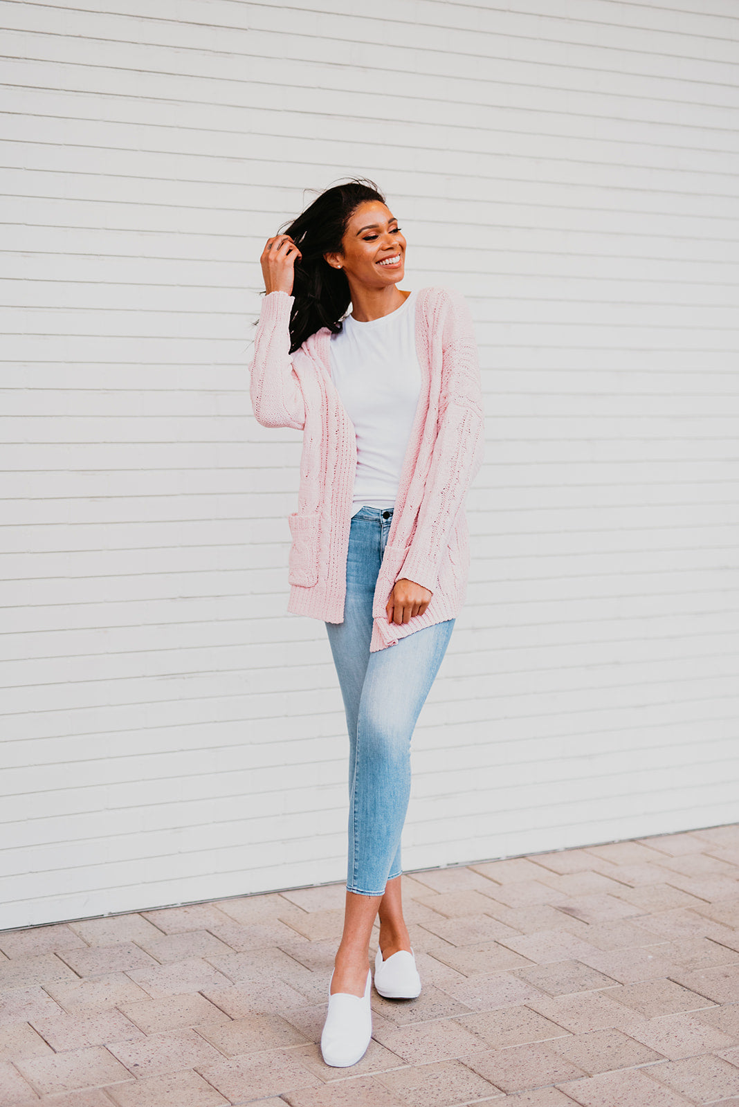 THE WARM + COZY KNIT OPEN CARDIGAN IN BLUSH