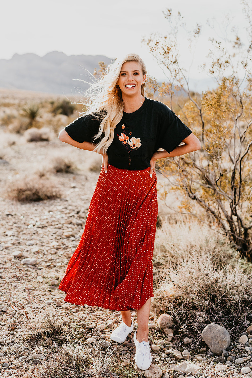 THE HOPKINS PLEATED SKIRT IN RED