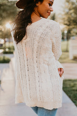 THE WARM + COZY KNIT OPEN CARDIGAN IN IVORY