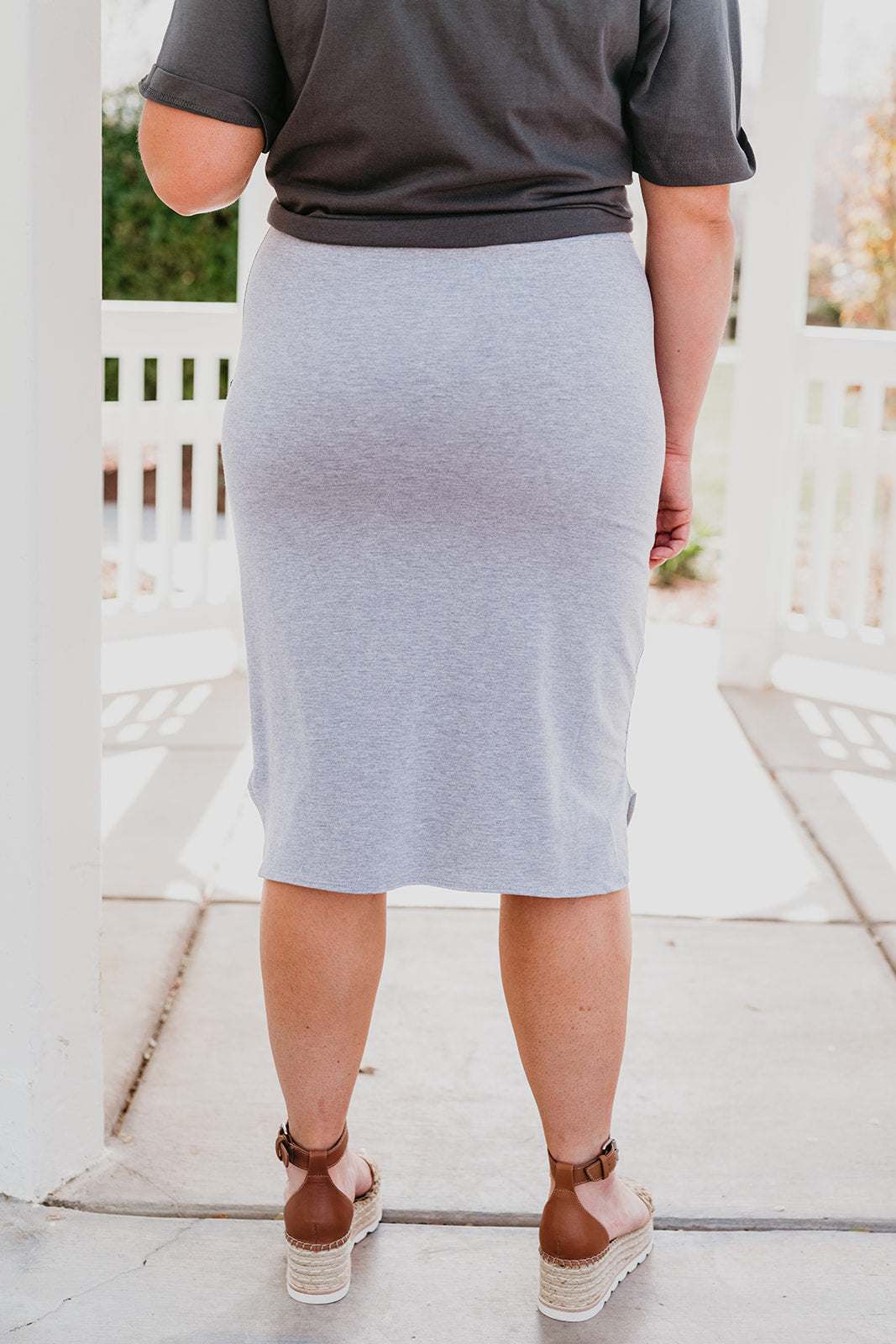 THE CATALINA MIDI SKIRT IN HEATHER GREY