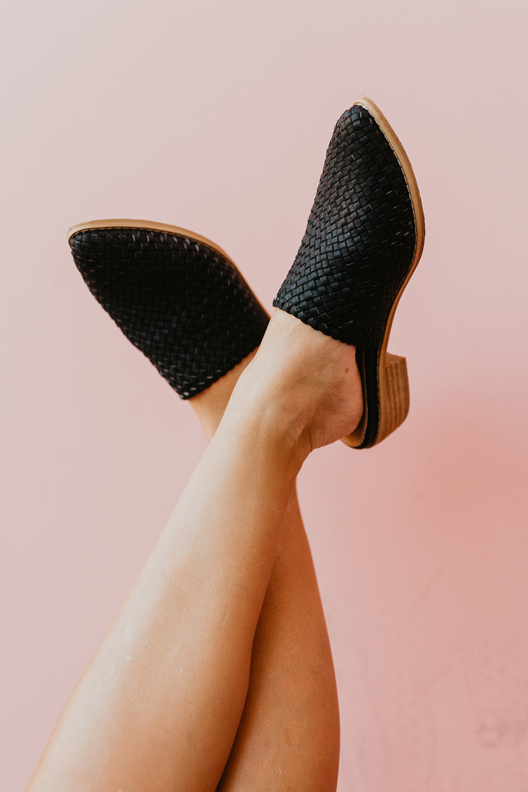 THE SELENE WOVEN MULE HEEL IN BLACK