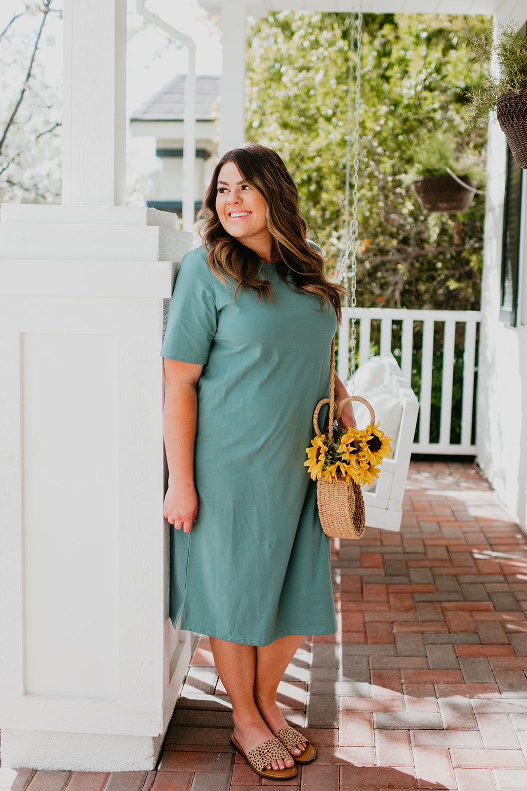 THE MICHELLE SHORT SLEEVE MIDI DRESS IN MUTED JADE