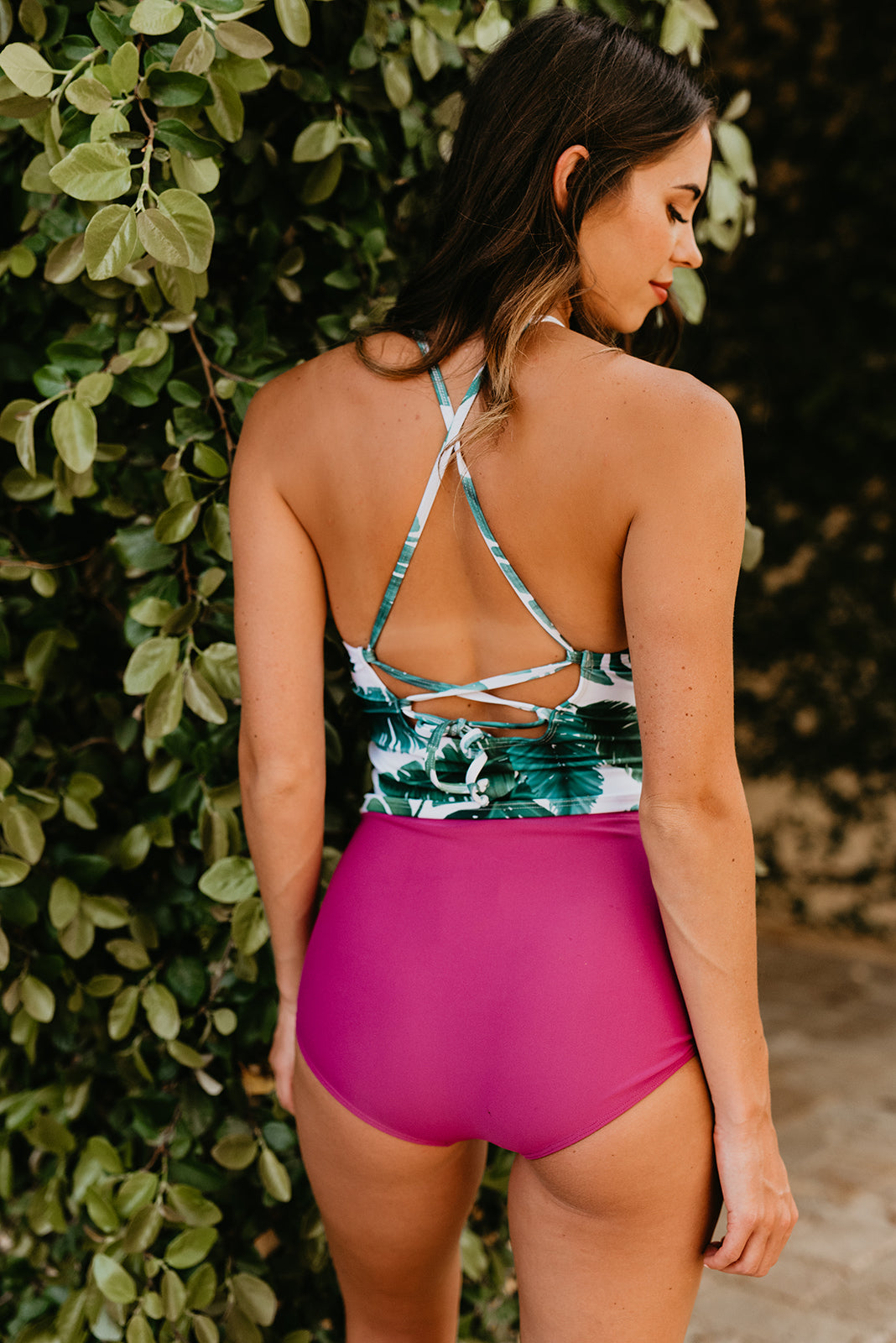 THE JUNGLE BERRY HIGH WAIST SWIM BOTTOM BY PINK DESERT