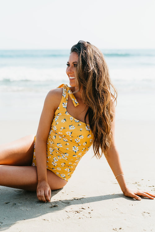 PINK DESERT RUCHED ONE SHOULDER ONE PIECE SWIMSUIT IN MUSTARD DAISY