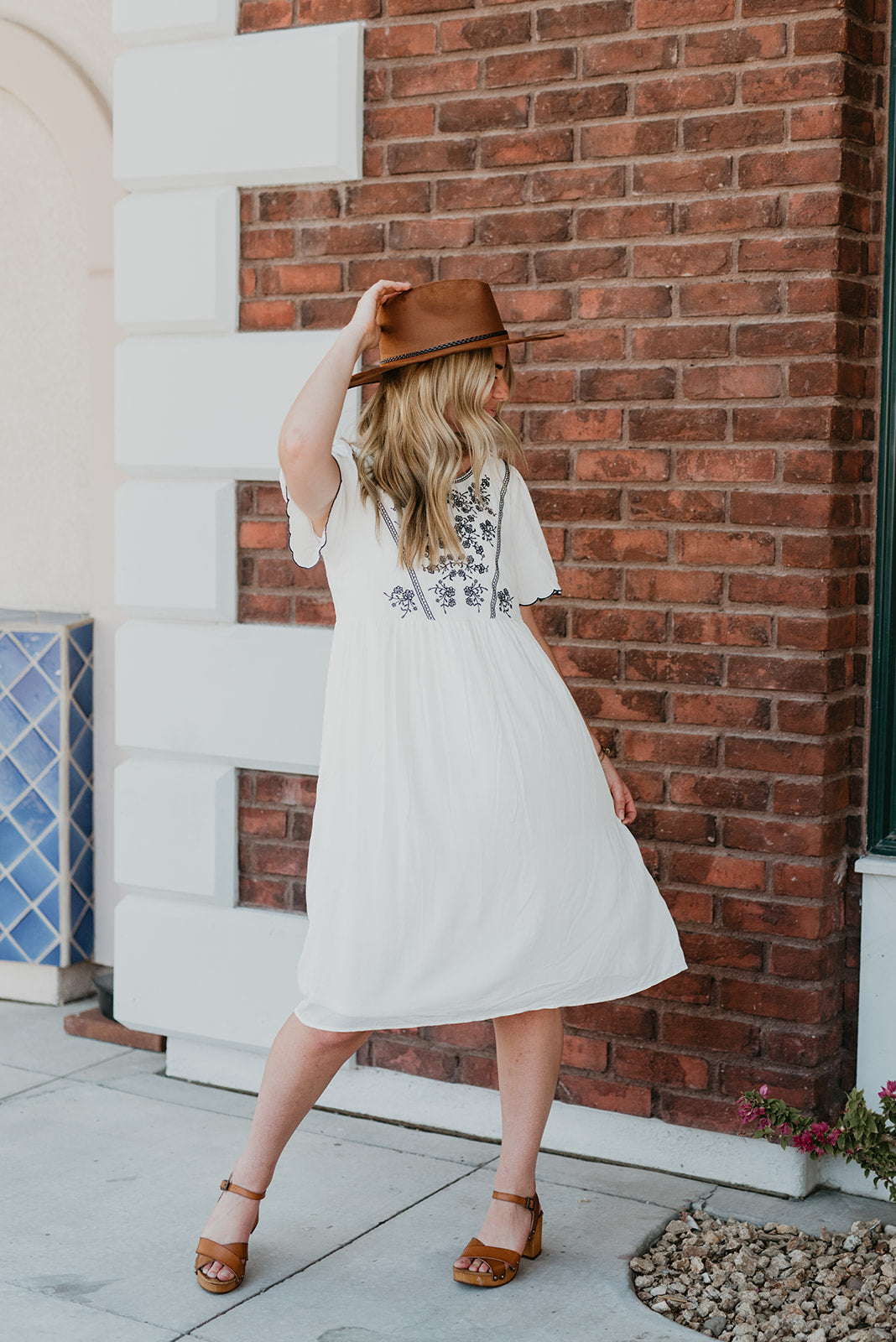 THE JONIE EMBROIDERED MIDI DRESS IN IVORY