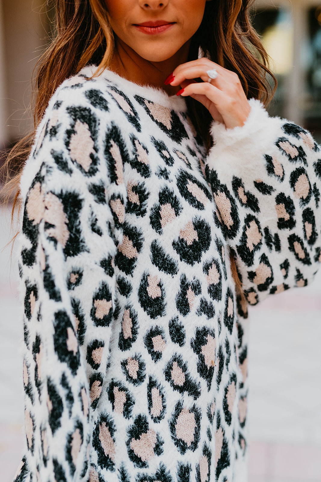 THE MARGOT LEOPARD SWEATER IN IVORY
