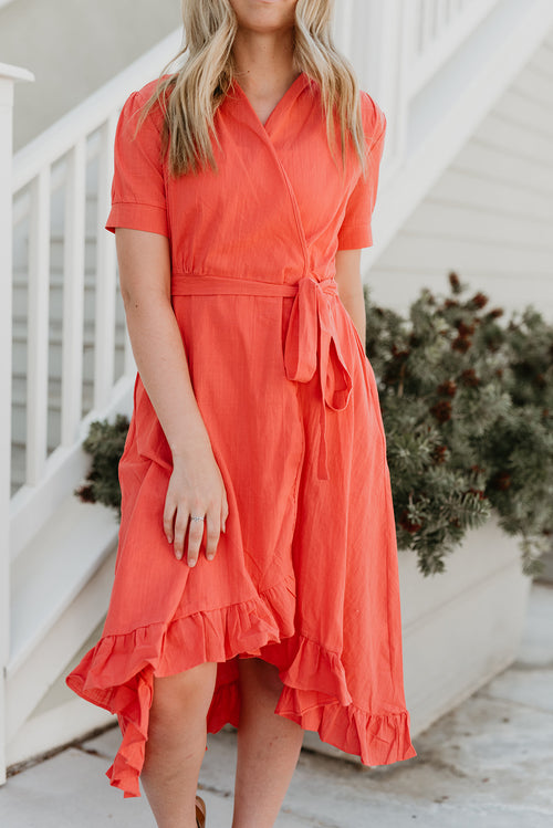 THE ROSA WRAP MIDI DRESS IN CORAL