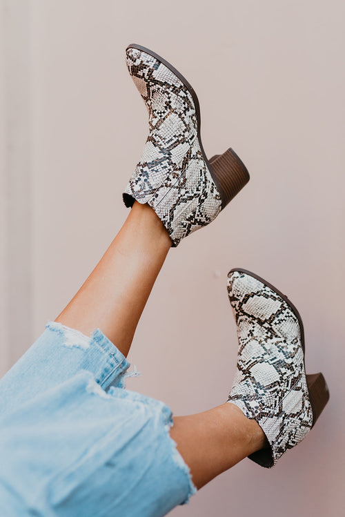 THE TOPANGA ANKLE BOOTIE IN SNAKE SKIN