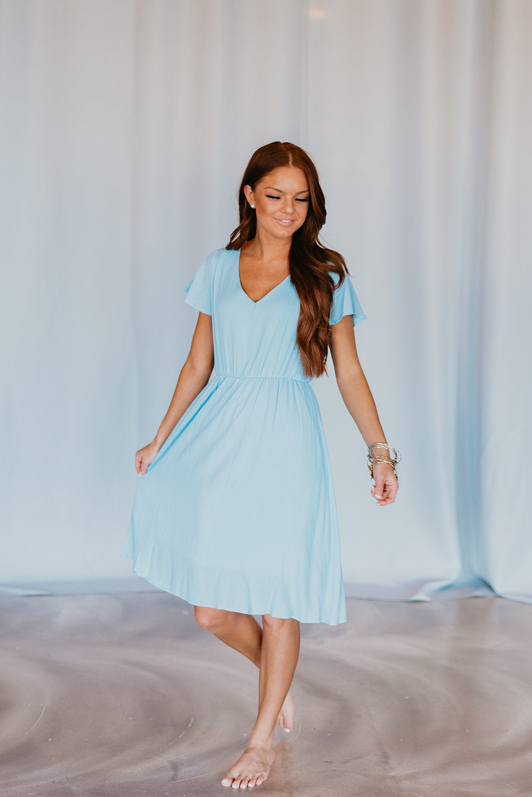 THE LANDEN MIDI DRESS IN CHAMBRAY