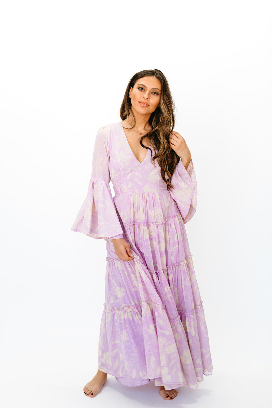 FREE PEOPLE CARMEN TIE BACK MAXI DRESS IN LILAC COMBO