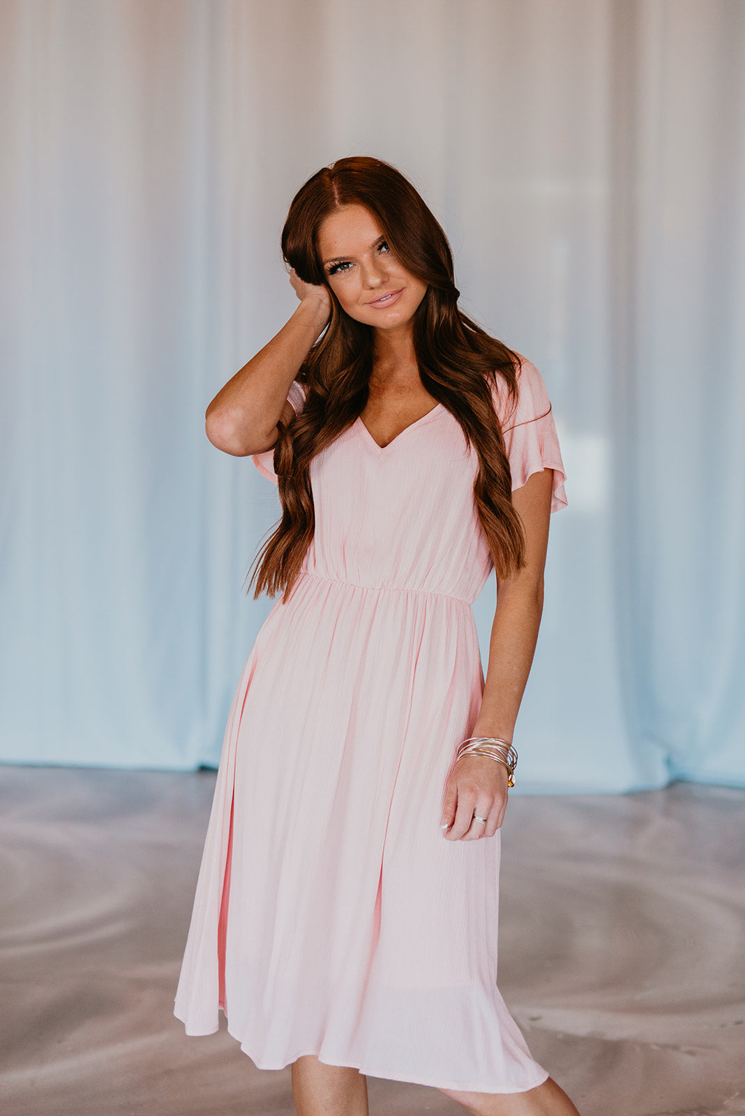 THE LANDEN MIDI DRESS IN PINK