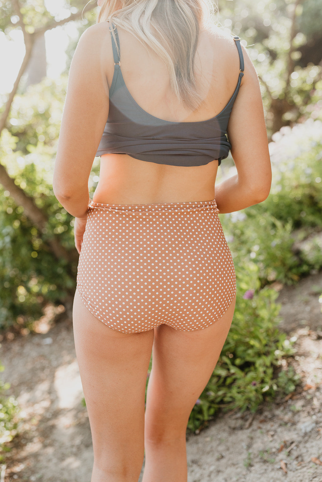 PINK DESERT HIGH WAIST SWIM BOTTOM IN MOCHA DOT