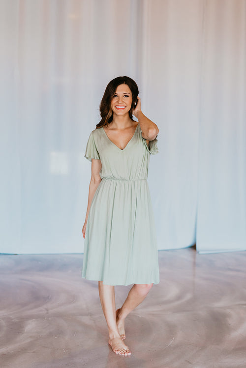 THE LANDEN MIDI DRESS IN SAGE