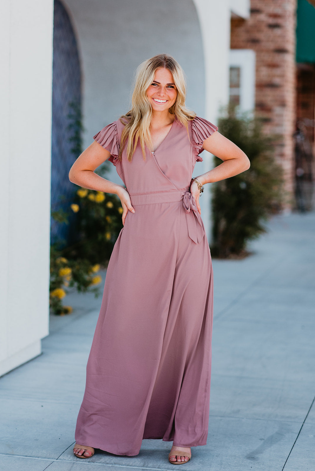 THE ARIE PLEATED SLEEVE MAXI IN PURPLE