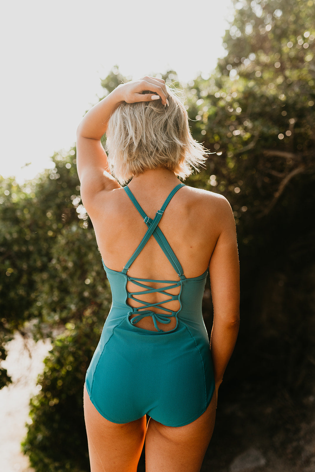 PINK DESERT LACED UP ONE PIECE IN TEXTURED JADE