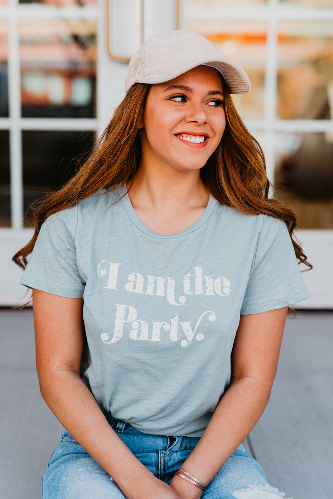 THE I AM THE PARTY TEE IN TEAL