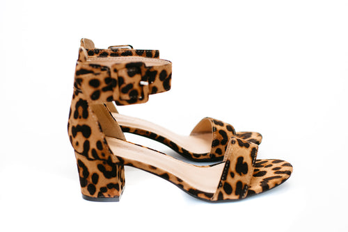 THE JEAN ANKLE STRAP HEEL IN LEOPARD SUEDE