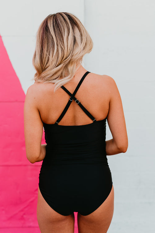 PINK DESERT TIED UP ONE PIECE SWIMSUIT IN BLACK