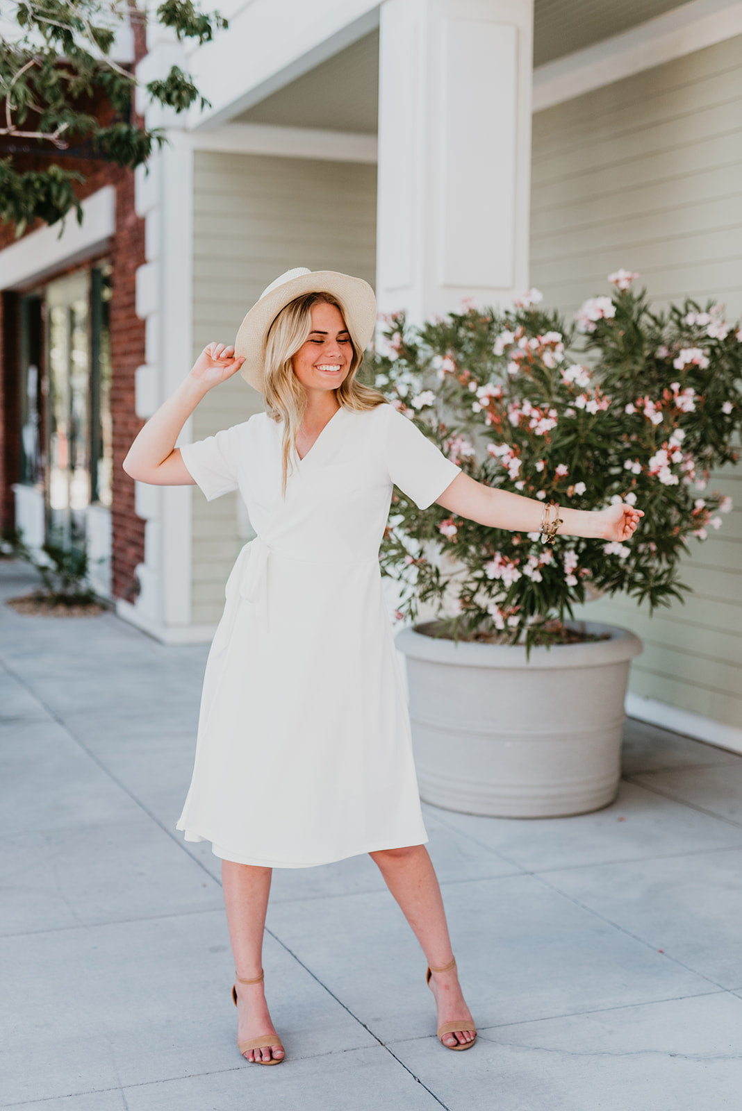 THE KATE WRAP MIDI DRESS IN WHITE