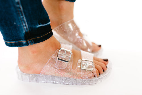 THE JEWEL SANDAL IN CLEAR GLITTER