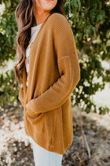 THE KENDALL SOLID KNIT CARDIGAN IN DIJON