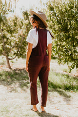 THE OLIVIA OVERALL JUMPSUIT IN EGGPLANT