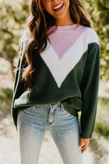 THE CHEVVY COLOR BLOCK SWEATER IN DARK GREEN