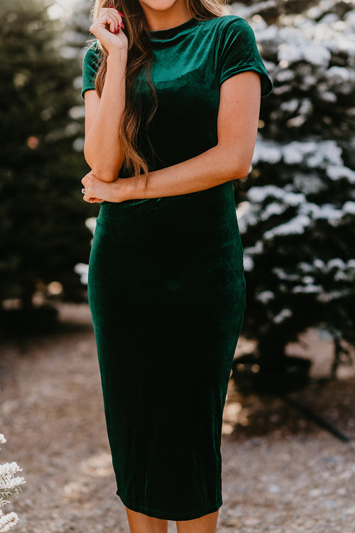 THE ALICE VELVET MIDI DRESS IN EMERALD