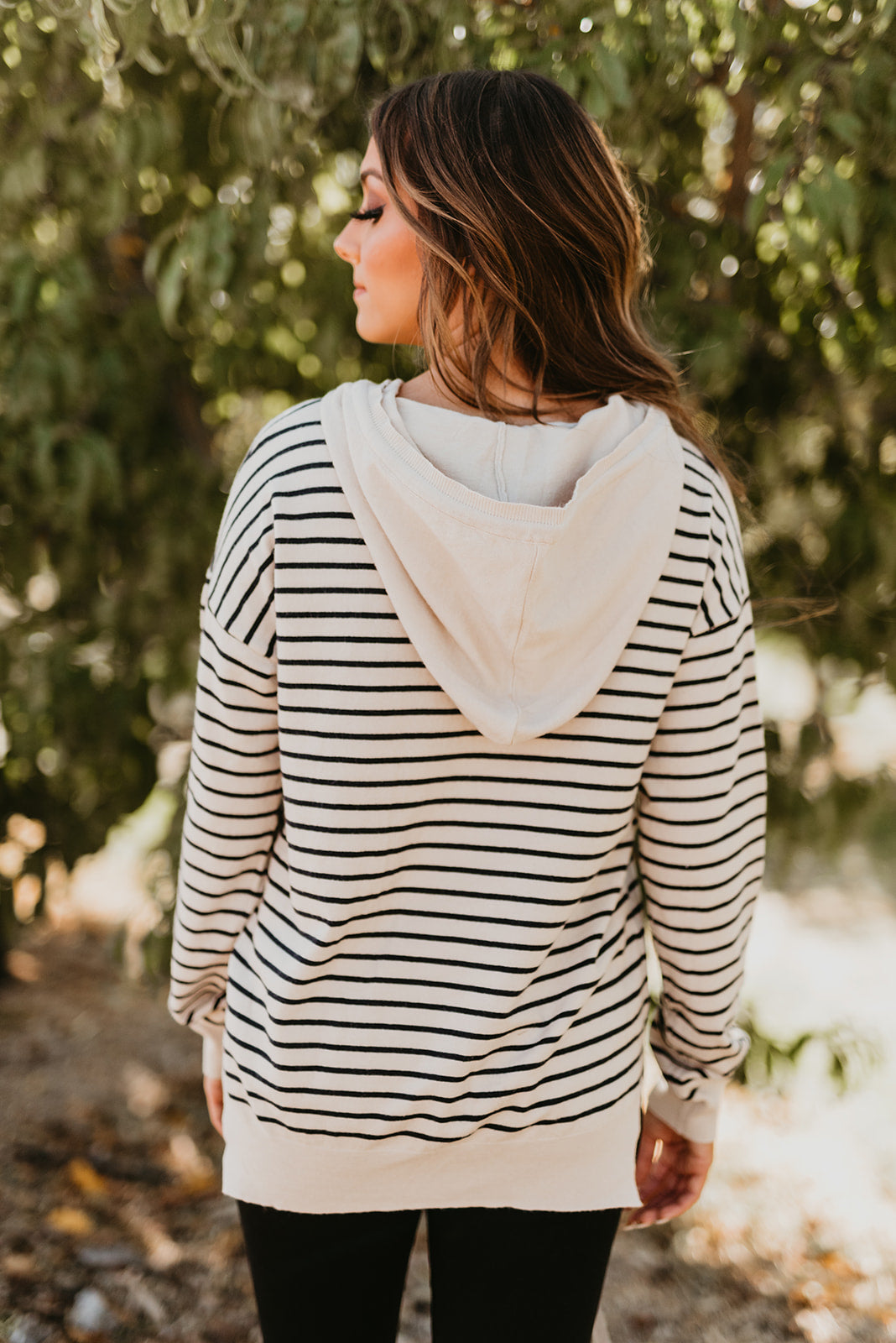 THE SPENCER STRIPE HOODIE IN CREAM