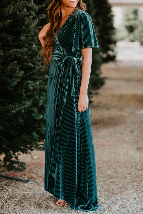 THE ROSLYN VELVET WRAP DRESS IN EMERALD