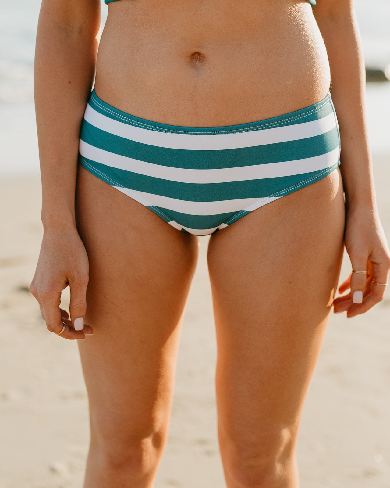PINK DESERT LOW WAIST SWIM BOTTOM IN JADE STRIPE