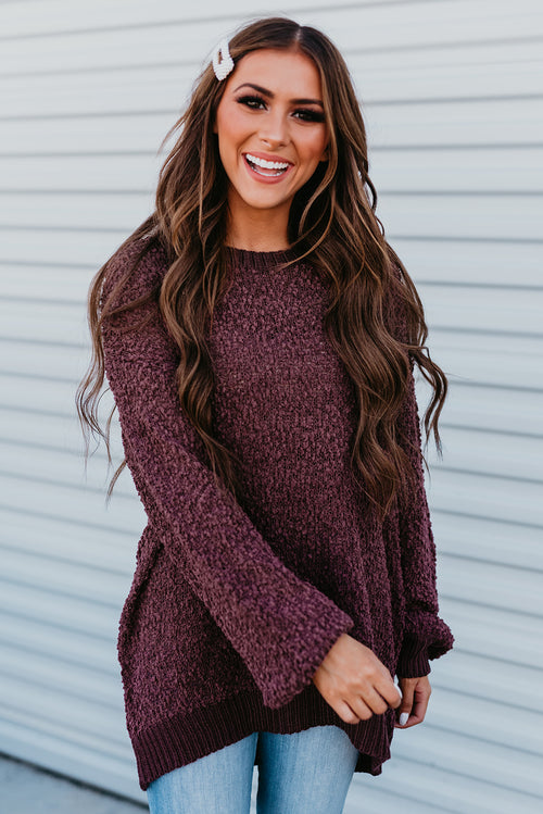 THE PORTER PULLOVER SWEATER IN PLUM