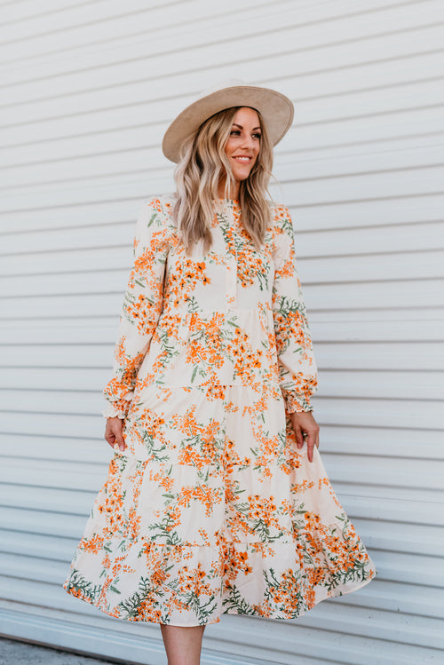 THE LACY FLORAL LONG SLEEVE MIDI DRESS
