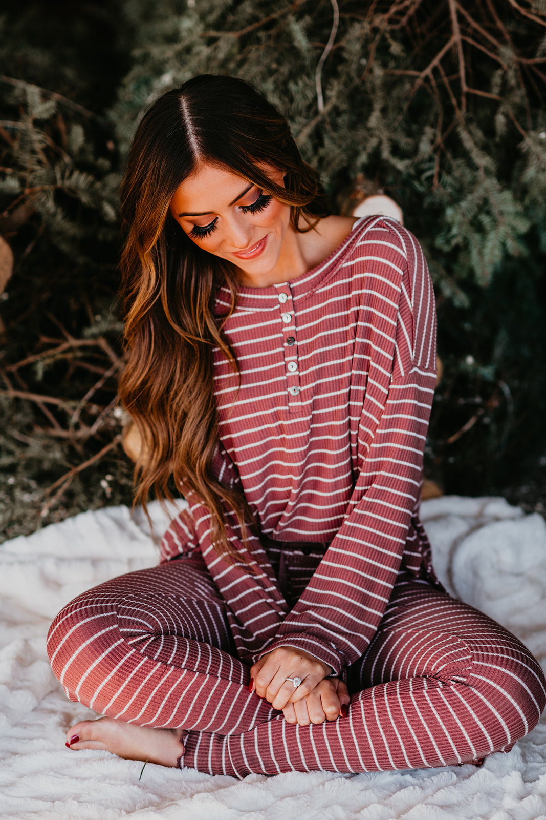 THE COMFY PAJAMA TOP IN PLUM STRIPE