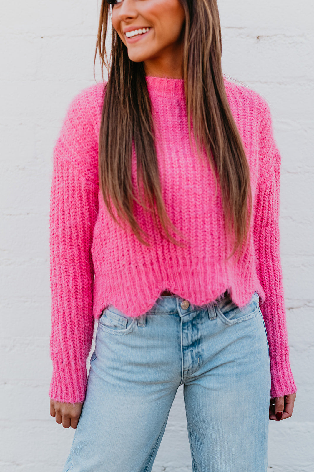 THE KRISTEN SCALLOP SWEATER IN PINK