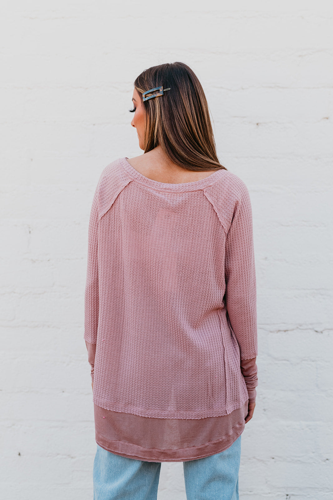 THE MANTHEY WAFFLE KNIT TOP IN DUSTY PINK