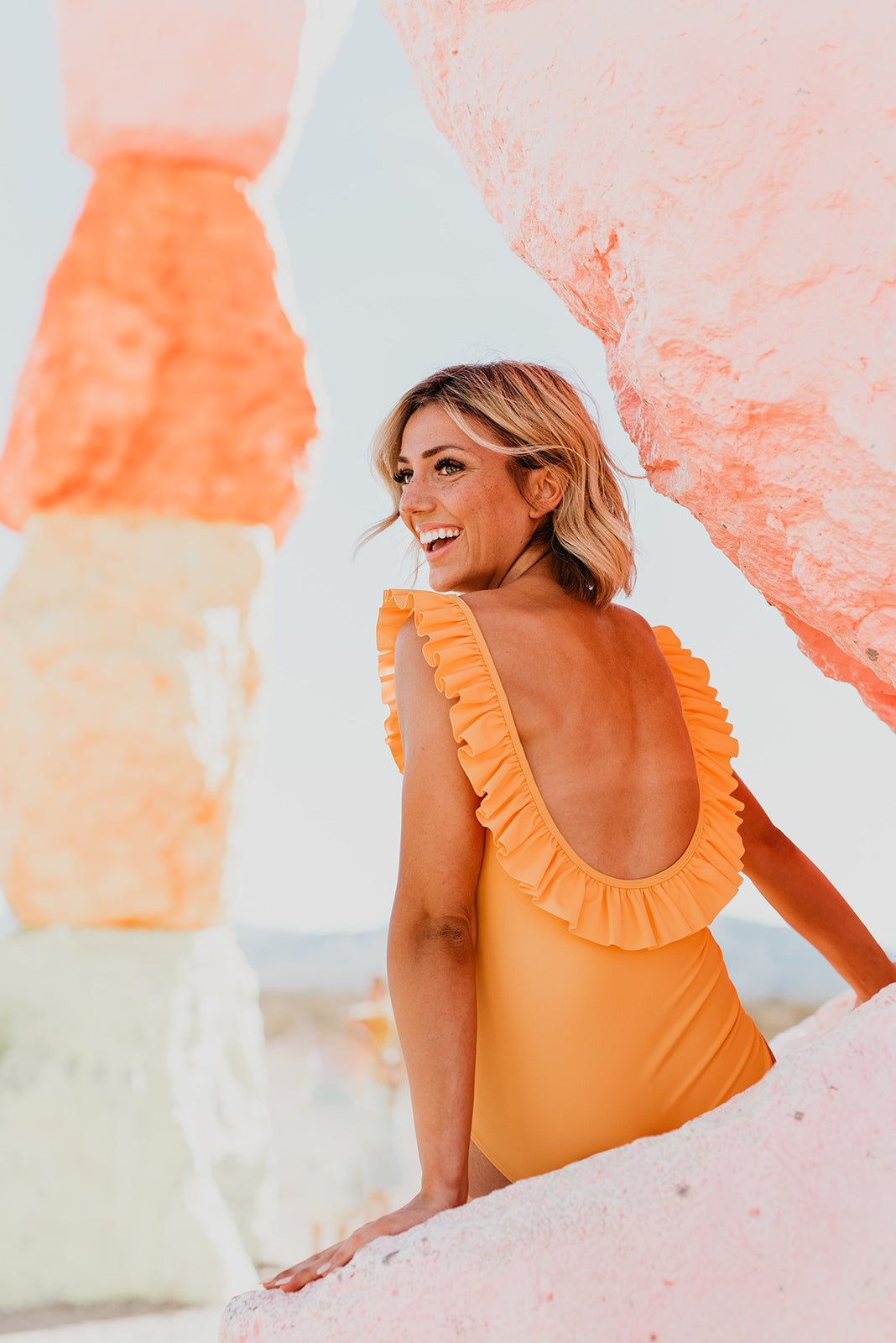 THE RUFFLE SCOOP ONE PIECE IN MANGO